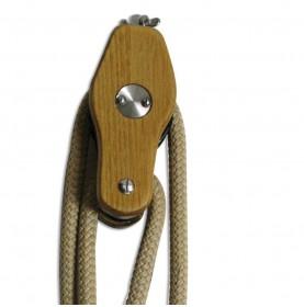 Poulie Regatta à violon en inox et acacia pour cordage de 10mm