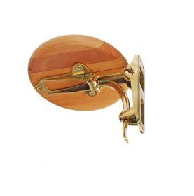 Siège de table à carte rabattable en bois verni et bronze