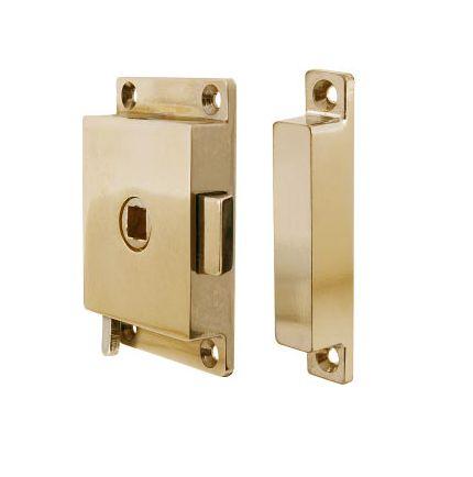 Rim lock in polished brass