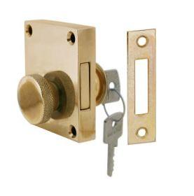 Verrou de sûreté à clé et molette en laiton 62 x 53mm