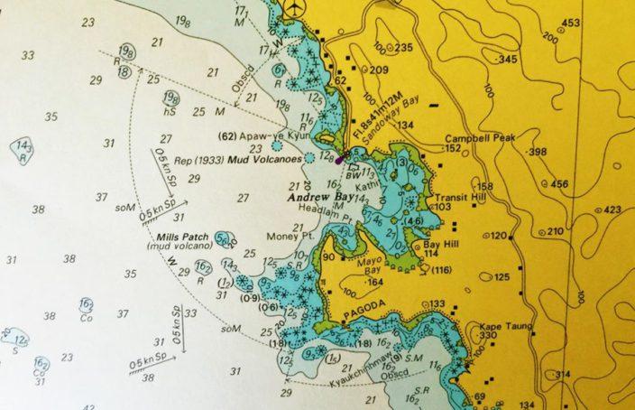 Carte marine de la Andrew Bay Birmanie