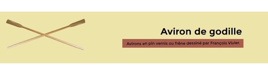 Avirons de godille en frêne ou pin verni